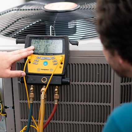 Our technician points to the readout from a test during a recent maintenance call.