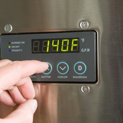 This tankless water heater features a digital temperature settings menu, allowing homeowners to adjust the temperature water is heated to.